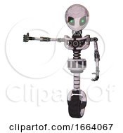 Cyborg Containing Grey Alien Style Head And Green Inset Eyes And Light Chest Exoshielding And No Chest Plating And Unicycle Wheel Sketch Pad Arm Out Holding Invisible Object