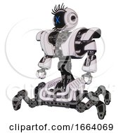 Mech Containing Digital Display Head And X Face And Eye Lashes Deco And Heavy Upper Chest And Heavy Mech Chest And Insect Walker Legs White Halftone Toon Standing Looking Right Restful Pose