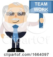 Old Business Man With Team Work Sign