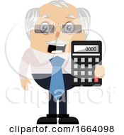Old Business Man With Calculator by Morphart Creations