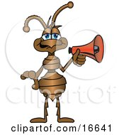 Ant Bug Mascot Cartoon Character With A Red Megaphone Or Bullhorn