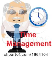 Old Business Man With Clock