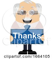 Old Business Man With Thanks Sign