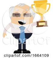 Old Business Man Holding Trophy