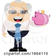 Old Business Man With Piggy Bank