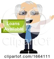 Old Business Man With Loans Available Sign