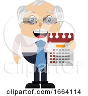 Old Business Man With Calendar
