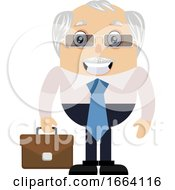Old Business Man With Suitcase