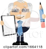 Old Business Man With Paper And Pen