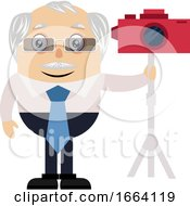 Old Business Man With Red Camera