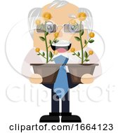 Old Business Man Holding Flowers