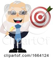 Old Business Man Holding Target