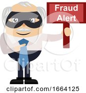Old Business Man With Fraud Alert Sign
