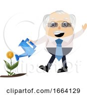 Old Business Man Watering Plant