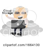 Old Business Man Is On Cloud