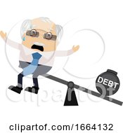 Old Business Man With Debt