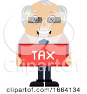 Old Business Man With Tax Sign