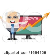 Old Business Man With Growth Analytics