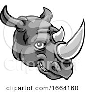 Rhino Mascot Cute Happy Cartoon Character by AtStockIllustration