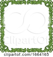 Filigree Heraldry Leaf Pattern Floral Border Frame by AtStockIllustration