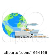 Logistic Transport Cargo World Globe Design