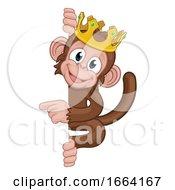 08/27/2019 - Monkey King Crown Cartoon Animal Pointing At Sign