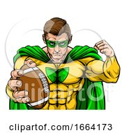 Superhero Holding Football Ball Sports Mascot