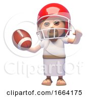 3d Jesus Christ Character Playing American Football In A Helmet