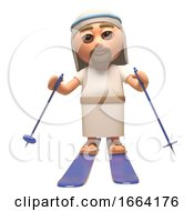 3d Cartoon Jesus Christ Character Skiing On Skis