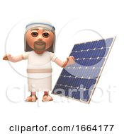 3d Jesus Christ Cartoon Character Standing Next To A Renewable Energy Solar Panel