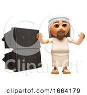 3d Jesus Christ Cartoon Character Standing In Front Of A Pa Sound System Of Speakers