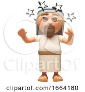 3d Jesus Christ Cartoon Character Is Shocked And Stunned With Stars In Front Of His Eyes