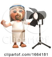 3d Jesus Christ Cartoon Character Stands Next To A Studio Spotlight