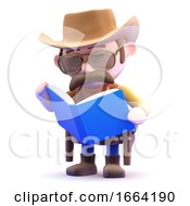 3d Cowboy Sheriff Reads A Book