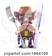 3d Cowboy Knife And Fork