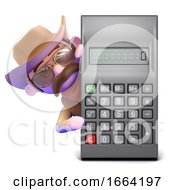 3d Cowboy Sheriff Behind A Calculator