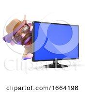3d Cowboy Sheriff Behind A Flatscreen Television Monitor
