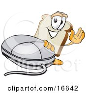 Slice Of White Bread Food Mascot Cartoon Character Waving And Standing By A Computer Mouse