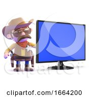 3d Cowboy Sheriff With Widescreen Tv