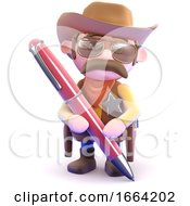 3d Cowboy Sheriff Writing With A Pen