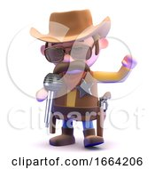 3d Cowboy Sings At The Microphone