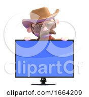 3d Cowboy Sheriff Looks Over A Flatscreen Monitor