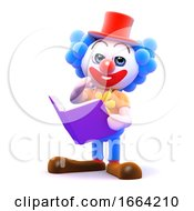 3d Clown Reading A Book