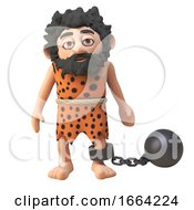3d Prehistoric Caveman Cartoon Character Wearing A Ball And Chain 3d Illustration