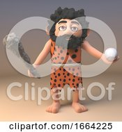 3d Funny Caveman Character In Animal Skins Playing Baseball With A Club 3d Illustration