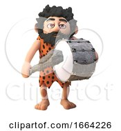Funny 3d Cartoon Prehistoric Caveman Character Playing A Bass Drum With His Club 3d Illustration