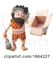 3d Cartoon Prehistoric Caveman Character Holding An Empty Cardboard Box And Club 3d Illustration
