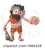 3d Prehistoric Caveman Character Holding A Human Brain And Club 3d Illustration