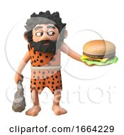 Funny 3d Prehistoric Caveman Cartoon Character Holding A Cheese Burger And Club 3d Illustration