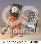 3d Cartoon Caveman Character Wearing Animal Skin And Holding A Calculator Upside Down 3d Illustration